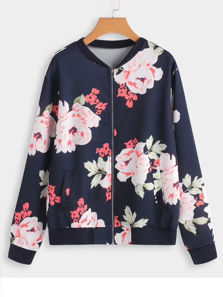 Plus Size Blue Floral Print Zip Jacket