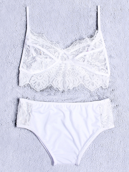 White See Through Design Lace V-neck Lingerie Set