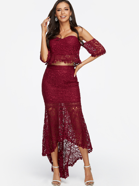 Burgundy Lace Off Shoulder Top with Irregular Hem Skirt Two Piece Outfits