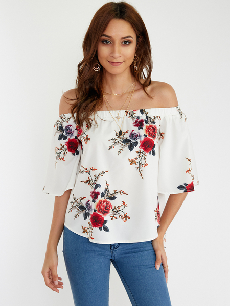 White Sexy Off Shoulder Random Floral Print Blouse