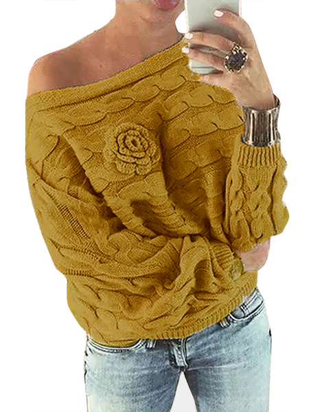 Yellow Off Shoulder Dolman Sleeve Random Floral Sweater