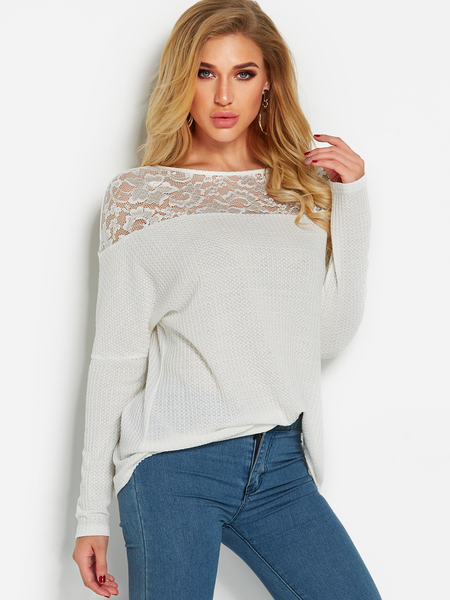 White Lace Insert See Through Details Plain Round Neck Long Sleeves T-shirts