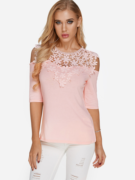 Pink Lace Insert Cold Shoulder Half Sleeves T-shirt