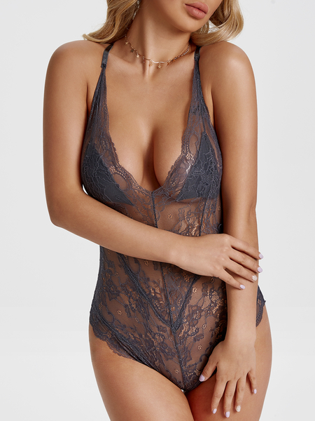 Grey Lace See-through Sexy Teddy with Padded Cups