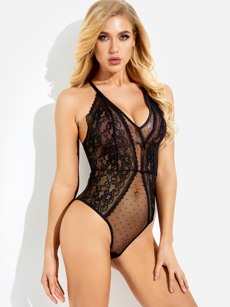 Black Spaghetti V-neck See Through Lace Teddy