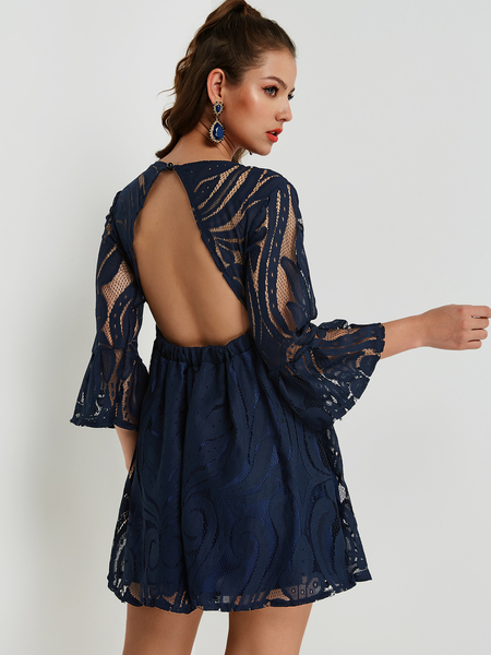Navy Backless Design Bell Sleeves Lace Dress