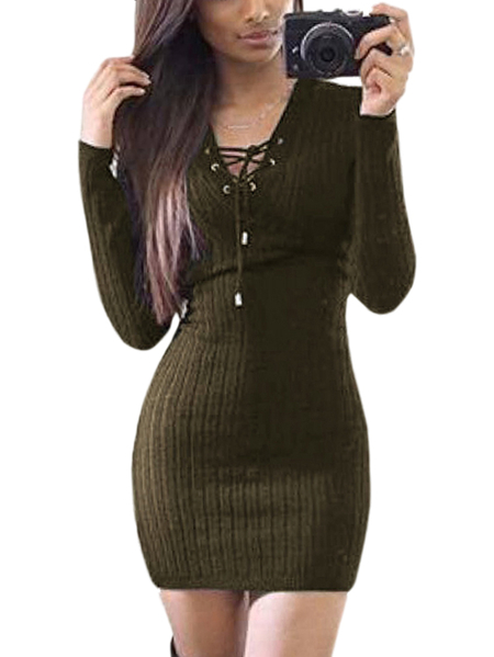 Army Green Knitted V-neck Lace-up Front Mini Dress