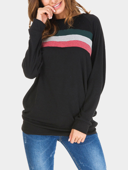 Black Color-stitching Pullover Long Sleeves Sweatshirt