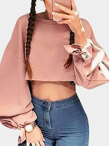 Pink Lace-up Design Long Sleeves Cropped Sweatshirt