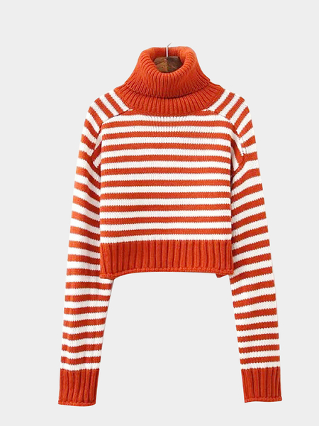 Stripe Knitted Crop Jumper in Orange