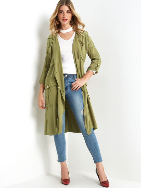 Army Green Double-Breasted Trench Coat
