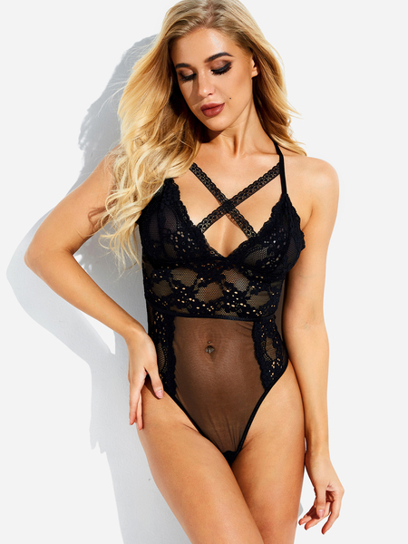 Black Criss Cross Embroidered Mesh Lace Teddy Lingerie