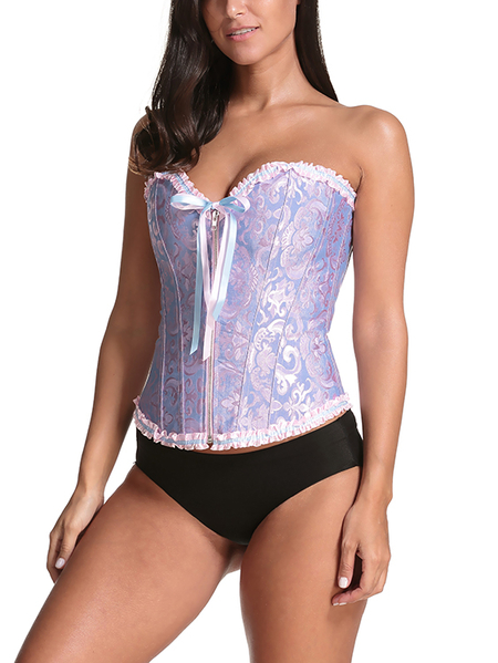 Blue Floral Zip Front Closure Lace-up Corsets with T-back