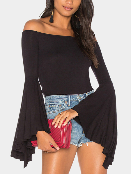 Black Pleated Design Plain Off The Shoulder Flared Long Sleeves Tee