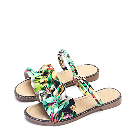 Green Floral Printed  Flat Sandals