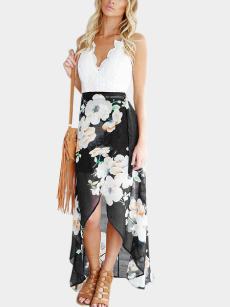 Black Random Floral Print Dress with Lace Insert
