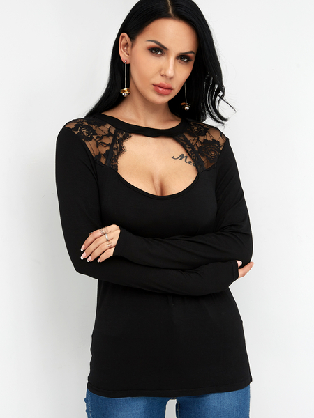 Black Lace Cut Out Crew Neck Long Sleeves T-shirt