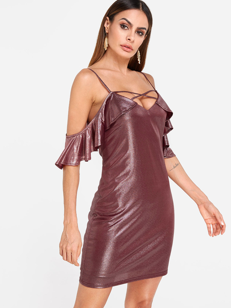 Burgundy Flounced Details V-neck Cold Shoulder Dress
