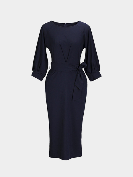 Lantern Sleeves Maxi Dress with Belt