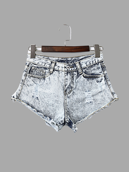 Fashion Ripped Details Denim Skorts
