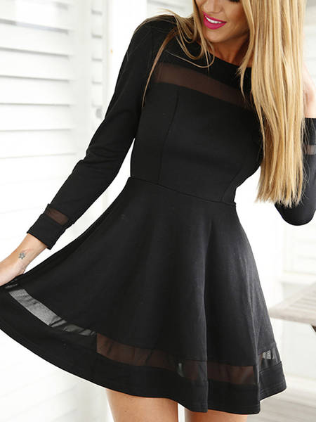 Black Mesh Details Round Neck Long Sleeves Mini Dress