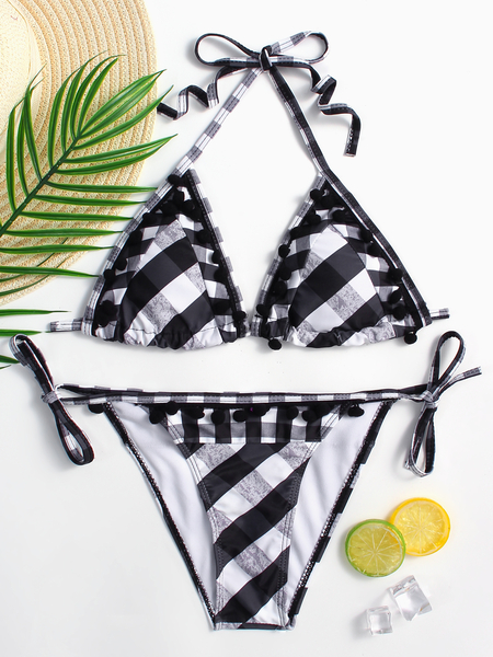 Black&White Grid Pattern Halter Bikini Set With Tassel hem