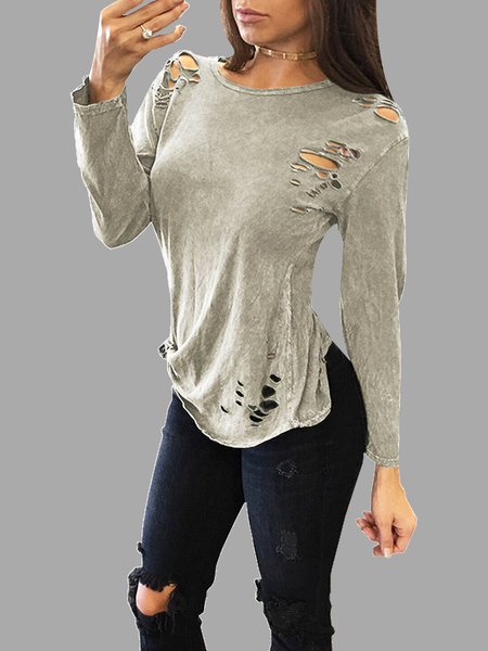 Sexy Round Neck Ripped T-shirt With Long Sleeves