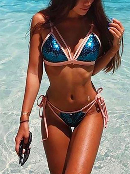 Sexy Sequins Embellished Bodycon Swimwear