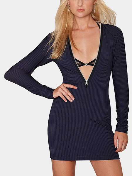 Yoins Zipper Ribbed Knit Mini Dress In Navy
