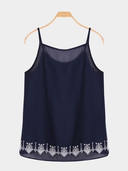 Loose see-through Embroidered Details Strappy Cami Top