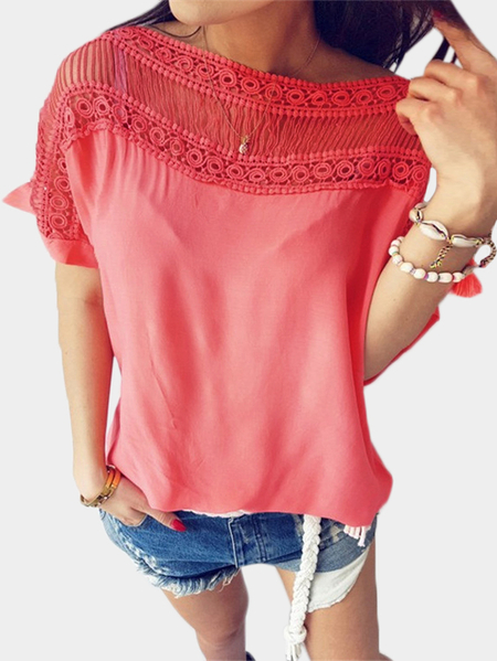 Pink Cut Out Stitching Short Sleeves T-shirt