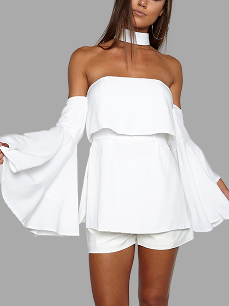 White Sexy Off Shoulder Flared Sleeves Layered Playsuit