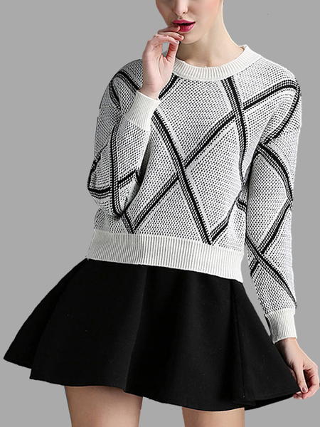 Grey Rhombus Pattern Jumper and Flounced Hem Mini Skirt