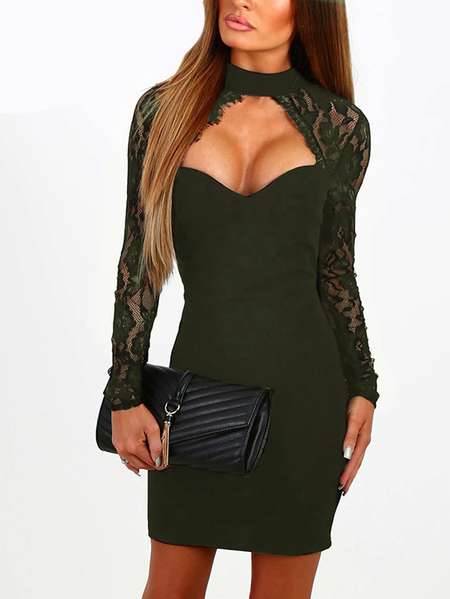 Army Green Sexy Crew Neck Lace Insert Mini Dress With Cut Out Detail