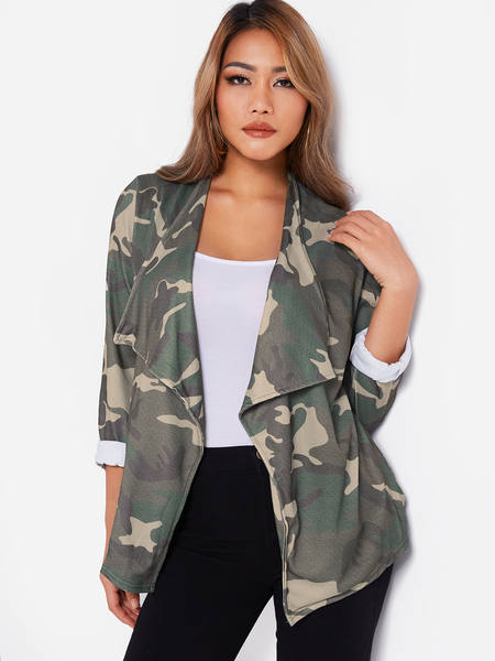 Army Green Camouflage Side Pockets Lapel Collar Long Sleeves Coat