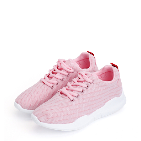 Pink Casual Lace-up Round Toe Platform Sneakers