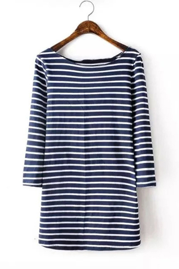 Navy and White Slim Stripe Half Sleeve Round Neck T-shirt
