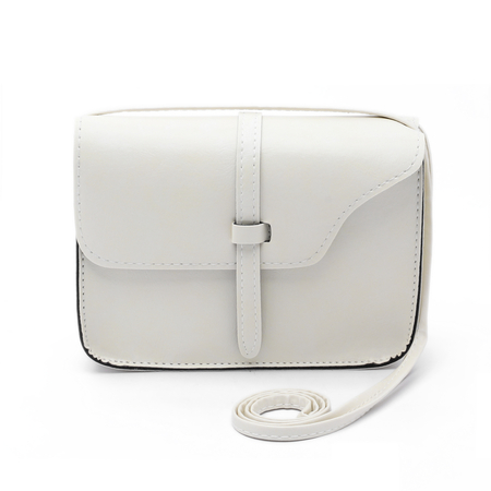 Beige PU Leather Plain Design Crossbody Bags