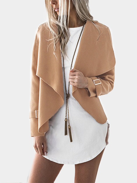 Image of Yoins Camel Plain Lapel Collar Long Sleeves Woolen Coat