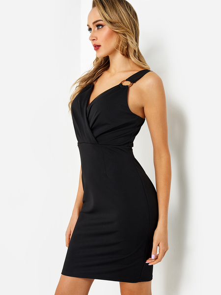 Black Crossed Front V neck Backless Party Dress