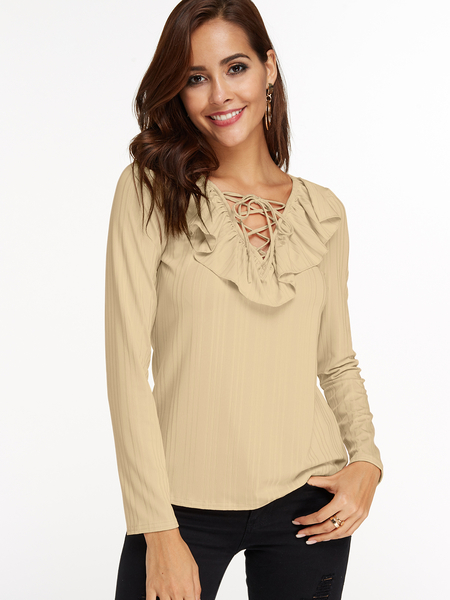 Khaki Stripe Flounced Details Lace Up Design Deep V-neck Long Sleeves T-shirt