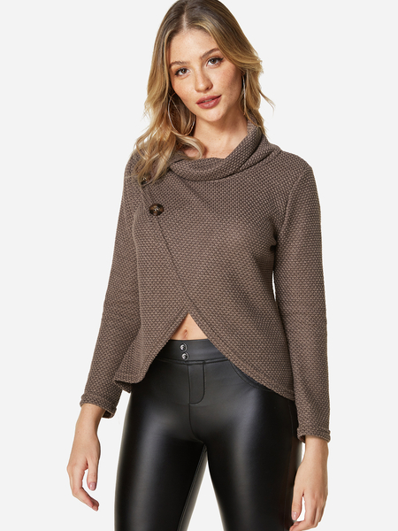 Brown Casual Crossed Front Design Plain Roll Neck Long Sleeves Sweaters