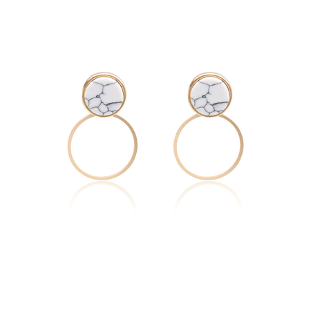 Gold Marble Design Circle Drop Earrings