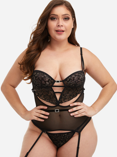 Plus Size Black Lace See-through Lingerie with Garter Belt