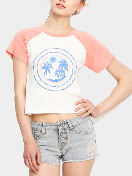 Casual Double Color Random Print Pattern Cropped T-shirt