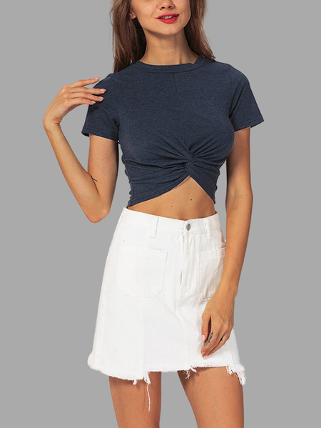 Navy Self-tie Short Sleeves Crop Top