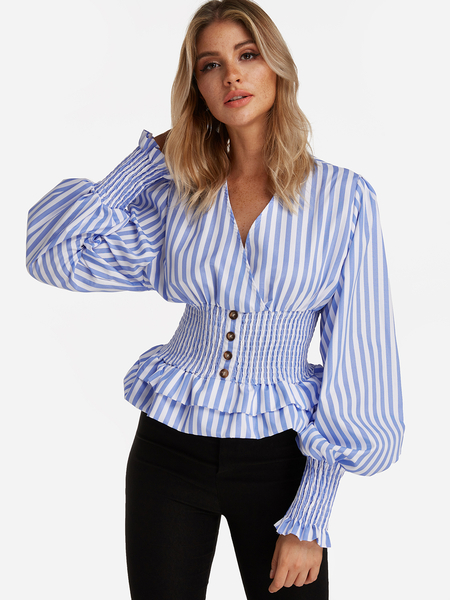 Blue Crossed Front Design Stripe V-neck Lantern Sleeves Shirt