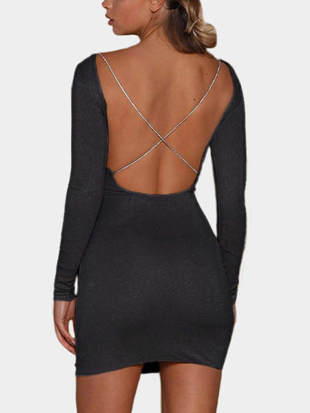 Black Backless Design Round Neck Long Sleeves Mini Party Dress
