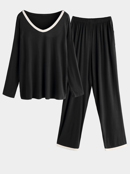 Black Side Pockets V-neck Long Sleeves Pajama Sets