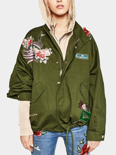 Green Side Pockets Embroidered Zip Design Long Sleeves Jackets With Stretch band